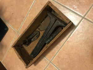 Antique Shoe Repair box and tools, found in dry barn