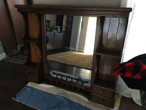 Wood with Mirror, no scratches and drawers