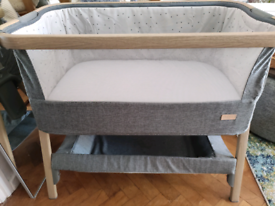 Tutti Bambini Cozee Bedside Crib Next To Me Cot Oak And Charcoal
