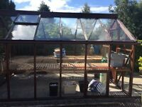Greenhouse and work benches dark wood McMillan crossgar