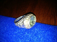 LARGE GREEN AMETHYST STERLING SILVER RING