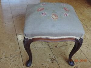 Tall Antique Needlepoint Foot Stool
