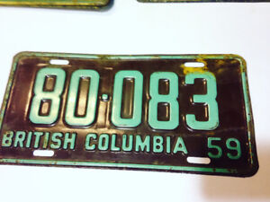 1959 British Columbia BC License Plate madein Okalla vintage $50