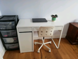 IKEA white study office desk with chair