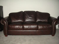 Classic Dark Brown All Leather Sofa Set, 99% New,Can Deliver