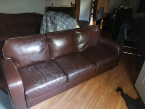 Brown leather 3 seater couch