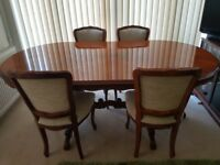 Italian rosewood inlay dining room table and chairs