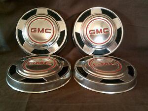 Set of Four 1975 thru 1987 10.5 inch GMC Dog Dish Hubcaps