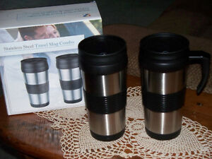 NEW IN BOX STAINLESS STEEL TRAVEL MUG COMBO (14 OZ)