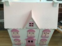 Early learning centre (ELC) wooden rosebud dolls house and extra toys