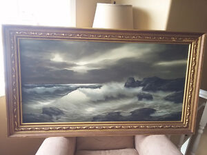 Framed Original Seascape Oil Painting by Remo Aldini