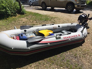 Used only couple times, Intex Mariner 4 with 2.6 hp