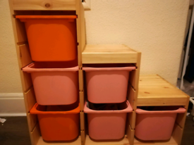 Kids Ikea Storage Unit with boxes