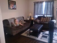 Brown couch and love seat set