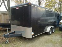 2008 Pace American enclosed trailer , 16' x 7', black , $4200