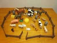 LOT Toy FARM ANIMALS hard plastic cow horse Daycare preschool