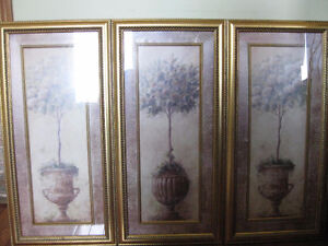 3 Pc. Wall Decor With Antique Golden Frames