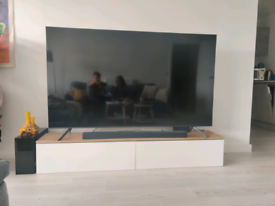New TV unit white with oak top