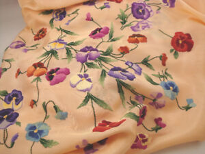 Vintage Satin Bed Top / Cover Embroidery Flowers 92 x 94 inch