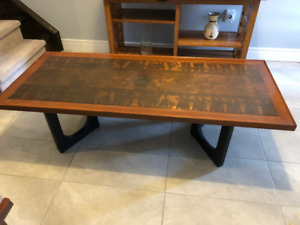 Mid Century Copper top coffee table - Egyptian motif