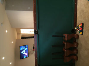 Pool table, power recliner and dining set