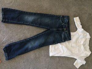 Designer jeans and cute tee