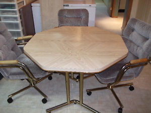 Table With Leaf And Three Swivel Reclining Chairs