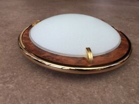 Walnut and frosted glass light fitting