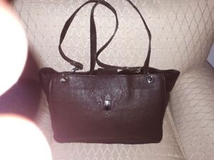 chocolate brown leather handbag