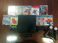 320GB PS3 SLIM: 10 GAMES, 2 CONTROLLERS, PLAYSTATION MOVE