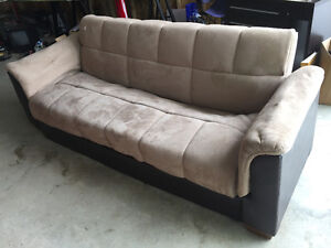 Sofa bed with storage.  Microfibre $50