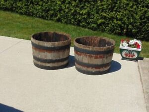 WOODED HALF BARREL PLANTERS