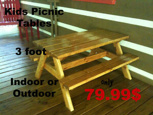 Hand crafted picnic tables