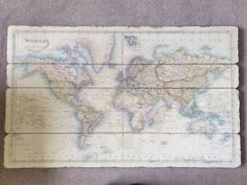 Laura Ashley World Map on wooden panels