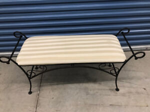Console Bench Wrought Iron Upholstered Beige on Beige stripes