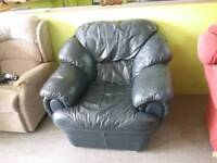 Faux Leather Blue Armchair - Can Deliver For £19