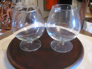PAIR of CLEAR-GLASS LOW-STEMMED ROSE BOWLS
