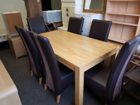 SOLD OAK TABLE +6 CHAIRS