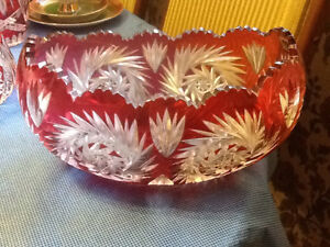 CranberryCut to Clear CrystalOval Bowl