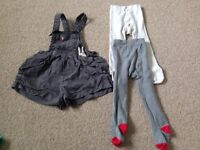 Next girls dungarees and tights 12-18months