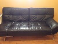 2 black leather couches for sale