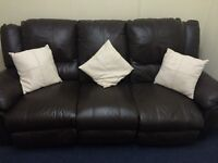 2 & 3 seater brown leather recliner sofas