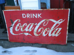 ORIGINAL 1950'S EMBOSSED TIN COCA COLA LARGE SIGN.  3X5 FEET