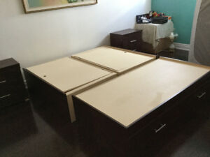 Price Negotiable - Queen Sized Bed Platform - Dark Wooden + More