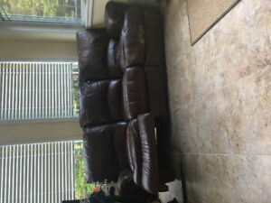 Chocolate brown leather recliner couch