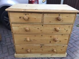 VINTAGE PRE WAR BARE PINE CHEST OF DRAWERS