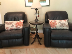 2 Luxury Leather Recliners $688.00