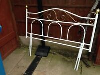 White & Gold wrought iron Bedhead
