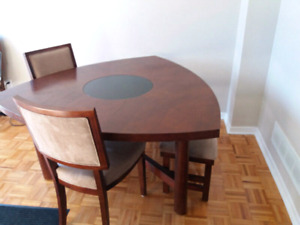 Modern coffee dining table with bench, 4 chairs