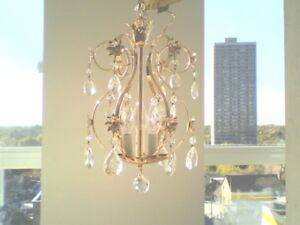 Matching Pair Vintage Prestige Mini Crystal Chandeliers